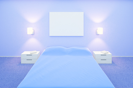 poster bed: Blue bedroom interior with blank poster above bed. Mock up, 3D Rendering Stock Photo