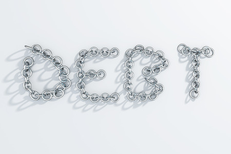 light chains: Debt written with chains on light background with shadows. 3D Rendering