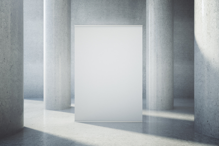 advertising column: Blank billboard in concrete interior with columns. Mock up, 3D Rendering Stock Photo
