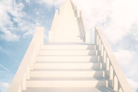 leading light: Light concrete ladder in the sky leading to success. 3D Rendering Stock Photo
