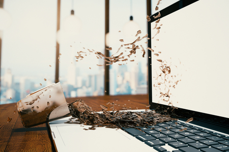 Closeup of drink spilling onto laptop with blank white screen on city background. Mock up, 3D Rendering