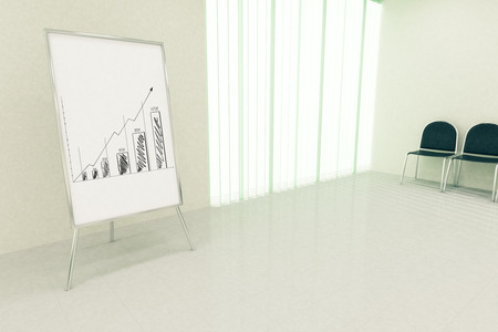 financial growth: Conference hall interior with business chart on whiteboard stand, seats and window with blinds. Financial growth concept. 3D Rendering