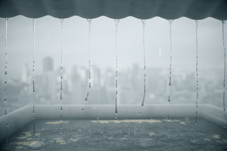 Rain dripping from roof on blurry city background. 3D Rendering