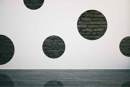 shiny floor: Creative empty room interior with round black brick circles on concrete wall and shiny dark wooden floor. Mock up, 3D Rendering