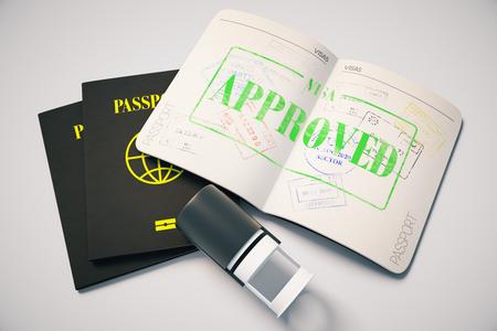 Passeport avec tampon de visa approuvé vert sur fond gris. Vue de dessus. Concept de voyage, rendu 3D