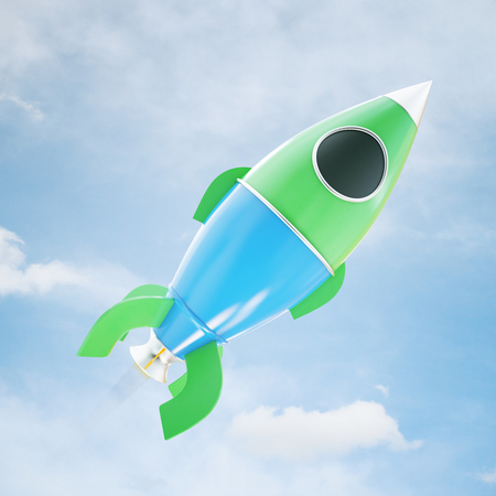 Abstract green and blue space ship miniature on sky background. Startup concept. 3D Rendering