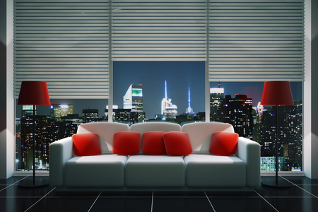 Front view of modern living room interior with red pillows on white couch, floor lamps, tile floor and panoramic window with blinds and illuminated night city view. 3D Rendering