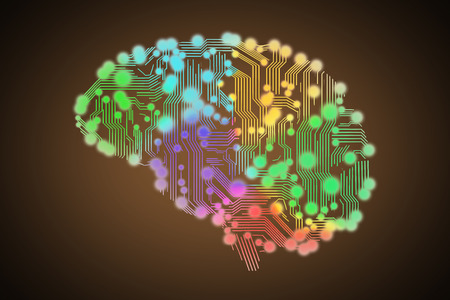 circuit: colored circuit board in form of human brain isolated on black Stock Photo