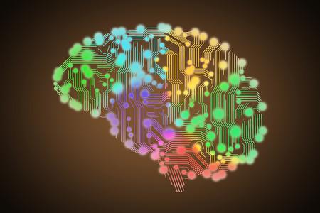 placa de circuito de color en forma de cerebro humano aislado en negro