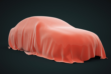 Car covered with red veil on dark background. 3D Rendering