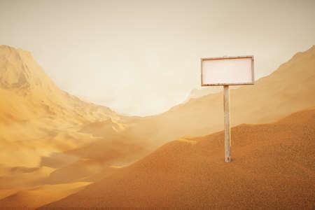 desert landscape: Colored Desert landscape with singboard. 3D Rendering