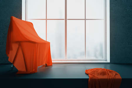 windowsill: Chair under red piece of cloth on windowsill with blurry city view. 3D Rendering