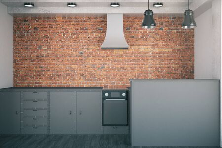 countertop: Front view of minimalistic black kitchen on red brick wall. 3D Rendering