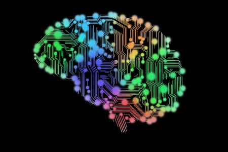 Farbige Leiterplatte in Form von menschlichem Gehirn Standard-Bild