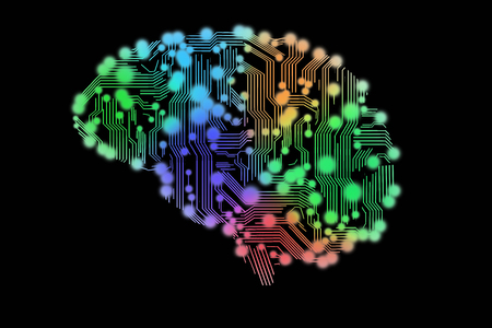 colored circuit board in form of human brain Stockfoto