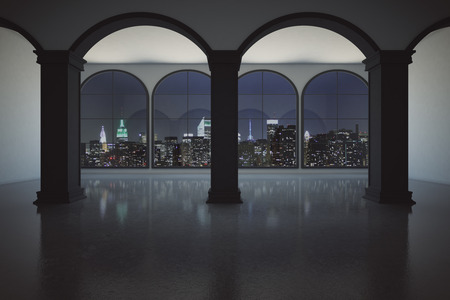 illuminated: Concrete interior with columns and panoramic windows with illuminated night city view. 3D Rendering
