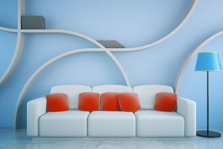 living room wall: Front view of futuristic living room interior with red pillows on white couch, floor lamp and abstract shelves on blue concrete wall background. 3D Rendering Stock Photo