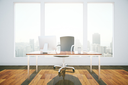 view window: Front view of office interior with workplace, wooden floor, concrete wall and window with city view and daylight. 3D Rendering Stock Photo
