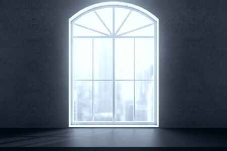 windowsill: Windowsill and window with bright city view on concrete wall. 3D Rendering