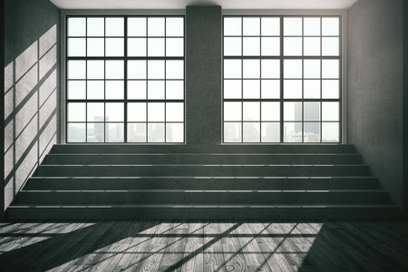 window: Dark interior with windows, city view, daylight, concrete stairs and wooden floor. 3D Rendering Stock Photo