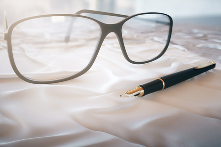 white cloth: Glasses and pen on a white cloth. 3D Rendering
