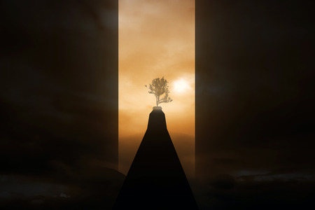 risky: Risky road to success. Dark path to growing tree on abstract sunset background