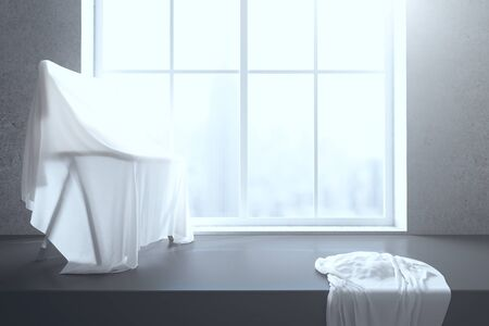 close: Chair under white piece of cloth on windowsill with blurry city view. 3D Rendering