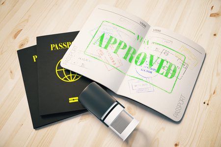 apply: Passport with green approved visa stamp on wooden background. Topview. Travel concept, 3D Rendering Stock Photo