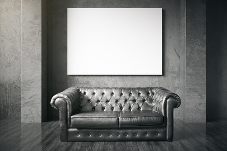 black floor: Luxurious black leather sofa and blank billboard in room with dark wooden floor and concrete wall. Mock up, 3D Rendering