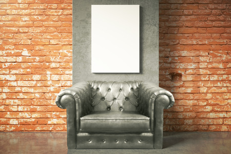 leather armchair: Luxurious black leather armchair and blank poster on red brick wall background. Mock up, 3D Rendering Stock Photo