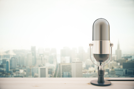 Light wooden surface with microphone on blurry city background with copy space. 3D Rendering