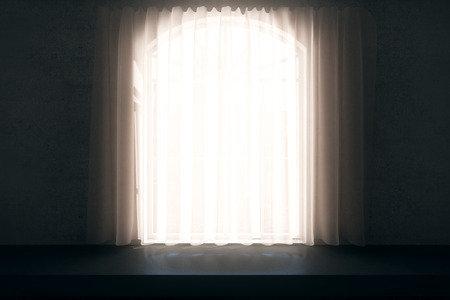 casement: Front view of dark room with windowsill, window covered with curtain and daylight. 3D Rendering