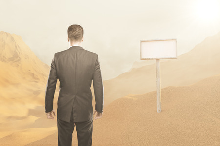 business shirts: businessman silhouette on a desert background. 3D Rendering Stock Photo
