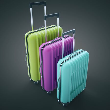bagagli: Three diffrent sized colorful suitcases on dark background. 3D Rendering