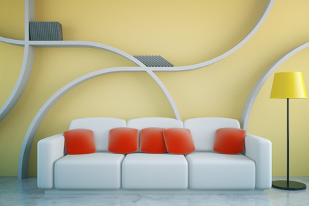 living room wall: Front view of futuristic living room interior with red pillows on white couch, floor lamp and abstract shelves on yellow concrete wall background. 3D Rendering