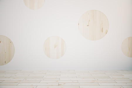 flooring: Creative empty room interior with round wooden plank circles on concrete wall and parquet flooring. Mock up, 3D Rendering Stock Photo