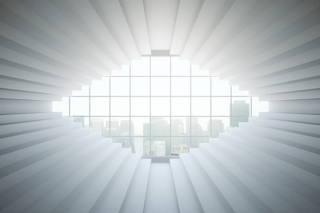 concrete stairs: Abstract interior with stair walls and window with city view. 3D Rendering Stock Photo