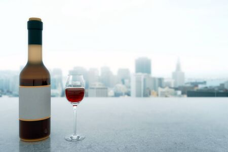 misty: Concrete surface with full glass of wine and bottle with blank label on misty city background. Mock up, 3D Rendering