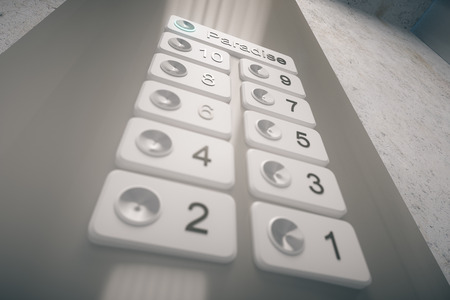 pressed: Pressed elevator button to paradise. Closeup, 3D Rendering Stock Photo