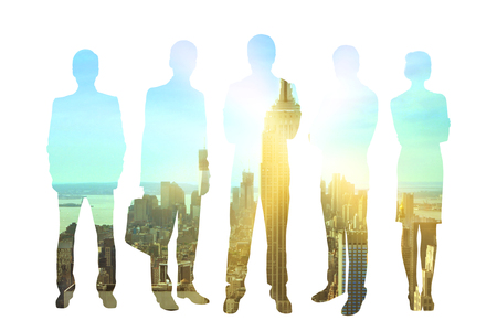 life partner: Business men and women silhouettes on city background with sunlight. Concept of teamwork and partnership. Double exposure Stock Photo