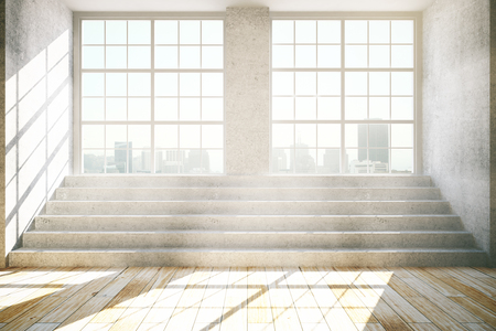 wooden stairs: Empty interior with windows, city view, daylight, concrete stairs and wooden floor. 3D Rendering Stock Photo