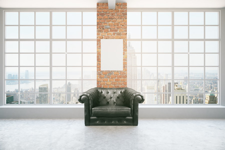 armchair: Black leather armchair in interior with blank poster on red brick column, concrete floor and panoramic window with city view and daylight. Mock up, 3D Rendering