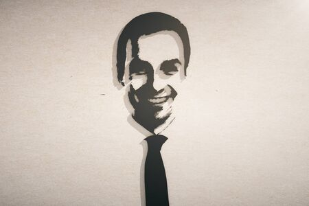 Abstract drawn portrait of businessman on concrete background