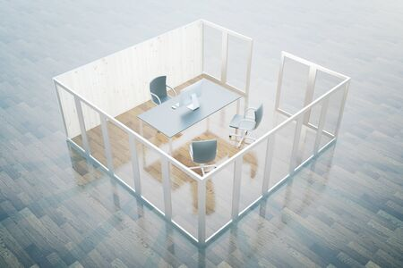 Closeup of desktop with computer monitor in office interior. 3D Rendering