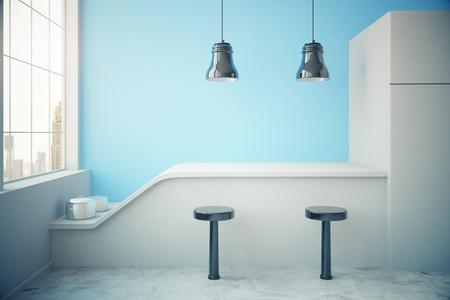 lampada: cucina interna blu con frigo, piano di lavoro, due sgabelli, pentole, lampade da soffitto e finestre con vista sulla città. Rendering 3D