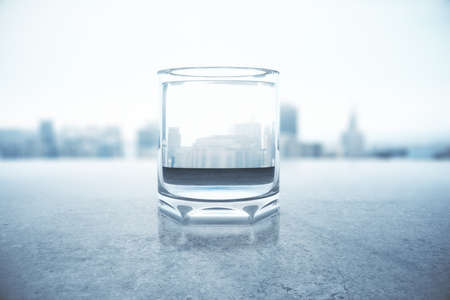 water reflection: Glass of water with city reflection on concrete surface. 3D Rendering