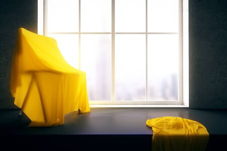 windowsill: Chair under yellow piece of cloth on windowsill with blurry city view. 3D Rendering