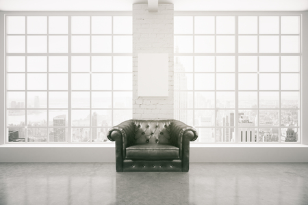 armchair: Black leather armchair in interior with blank poster on white brick column, concrete floor and panoramic window with city view and daylight. Mock up, 3D Rendering