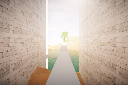 risky: Risky road to success. Dangerous concrete path with obstacles to large green tree. 3D Rendering Stock Photo