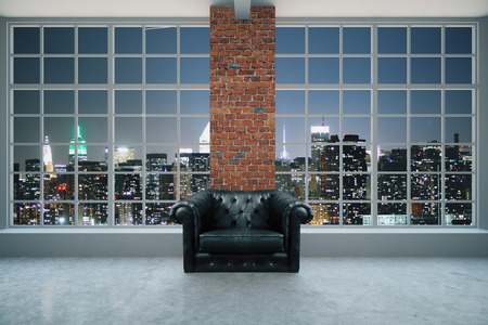 business lifestyle: Black leather armchair in interior with red brick column, concrete floor and pamoramic window with illuminated night city view. 3D Rendering Stock Photo